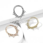 Heart Filigree with Mini CZ Details Bendable Hoop for Daith, Cartilage Septum and More