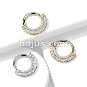 Double Lined CZ Paved Front Bendable Hoops for Daith, Cartilage, Septum and More