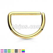 D Shape Titanium Anodized over Annealed 316L Surgical Steel Cut Rings