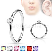 Tiny Crystal Set Side 316L Surgical Steel Nose HoopCut Rings
