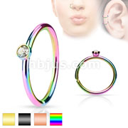 Tiny Crystal Set Side IP over 316L Surgical Steel Nose Hoop Cut Rings