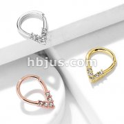 5 CZ Lined Pear Shaped Bendable Cut Ring for Cartilage, Tragus, Septum, and More