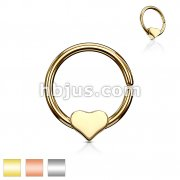 316L Surgical Steel Annealed Bendable Cut Ring with Removable Steel heart