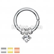 316L Surgical Steel Annealed Bendable Cut Ring with Removable Prong Set Crysta and Steel Beads
