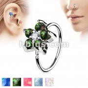 Opal GlitterSet Flower Petals CZ Center 316L Surgical Steel Hoop Ring for Nose & Ear Cartilage