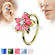 Gold IP Plated Opal GlitterSet Flower Petals CZ Center 316L Surgical Steel Hoop Ring for Nose & Ear Cartilage