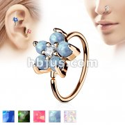 Rose Gold IP Plated Opal GlitterSet Flower Petals CZ Center 316L Surgical Steel Hoop Ring for Nose & Ear Cartilage