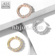 .925 Sterling Silver Bendable Hoop Ring With 10 Lined CZ