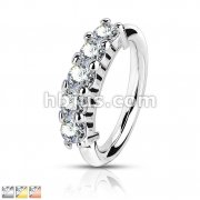 316L Surgical Steel Bendable Hoop Ring With 5 Lined CZ