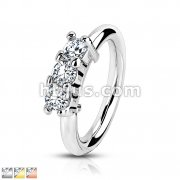316L Surgical Steel Bendable Hoop Ring With 3 Lined CZ