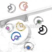 Opal Glitter Center Crescent Moon Shape 316L Surgical Steel Ear Cartilage, Daith Hoop Rings