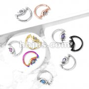 Crescent Moon with Crystal on Crescent Moon Shape 316L Surgical Steel Ear Cartilage, Daith Hoop Rings