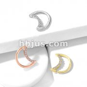 Crystal Lined Crescent Moon Shaped 316L Surgical Steel Ear Cartilage, Daith Hoop Rings