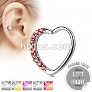Lined CZ Set Heart 16 Gauge Ear Cartilage Hoop Rings