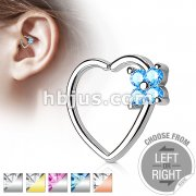 Four CZ Square Set Heart 16 Gauge Ear Cartilage Hoop Rings
