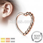 Half Braided Heart 16 Gauge Ear Cartilage Hoop Rings