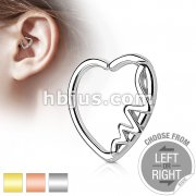 Heartbeat Heart 16 Gauge Ear Cartilage/Daith Hoop Rings