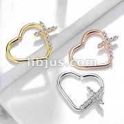 CZ Paved Cross Heart Shape Ear Cartilge, Daith Hoop Rings