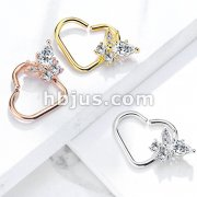 CZ Butterfly set Heart Shape Ear Cartilge, Daith Hoop Rings