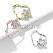 CZ Flower Heart Shape Ear Cartilge, Daith Hoop Rings