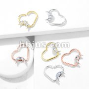 CZ Paved Crescent set Heart Shape Ear Cartilage, Daith Hoop Rings