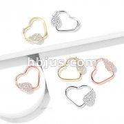 CZ Paved Angel Wing Set Heart Shape Ear Cartilage, Daith Hoop Rings