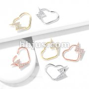 CZ Paved Lightning Bolt Set Heart Shape Ear Cartilage, Daith Hoop Rings