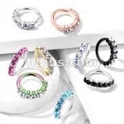 7 Gem Lined Set All 316L Surgical Steel Bendable Hoop Rings for Ear Cartilage, Eyebrow, Nose and More