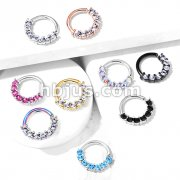 7 Gem Front Facing Set All 316L Surgical Steel Bendable Hoop Rings for Ear Cartilage, Daith, Nose Septum and More