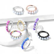 7 Opal Lined Set All 316L Surgical Steel Bendable Hoop Rings for Ear Cartilage, Eyebrow, Nose and More