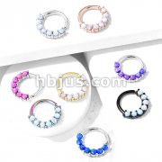 7 Opal Front Facing Set All 316L Surgical Steel Bendable Hoop Rings for Ear Cartilage, Daith, Nose Septum and More