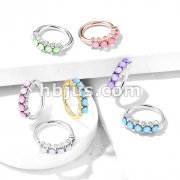 5 Iluminating Stones Lined Set All 316L Surgical Steel Bendable Hoop Rings for Ear Cartilage, Eyebrow, Nose and More
