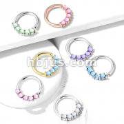 5 Illuminating Stones Front Facing Set All 316L Surgical Steel Bendable Hoop Rings for Nose Septum, Ear Cartilage, Daith and More