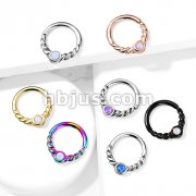 Opal Centered Braided Half Circle All 316L Surgical Steel Bendable Segment Rings for Daith, Cartilage, Nose Septum and More