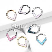 Opal GlitterChevron Front Facing All 316L Surgical Steel Bendable Hoop Ring for Daith, Cartilage, Nose Septum and More