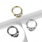 3 CZ Round Flat Ball with Cluster Bead All 316L Surgical Steel Bendable Hoop Ring for Cartilage, Nose Septum and More