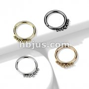 All 316L Surgical Steel Bendable Hoop Ring with Outer Graduated Balls for Cartilage, Nose, Septum and More