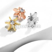CZ Decorated Star Internally Threaded Dermal Top