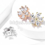 Five Pear CZ Flower Internally Threaded Dermal Top