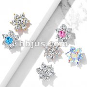 7 CZ Flower Internally Threaded Dermal Tops
