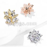 Princess Cut CZ Crossed CZ Square Internally Threaded Dermal Top