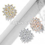 CZ Paved Sunburst Internally Threaded Dermal Tops