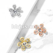 Micro Paved CZ Flower Internally Threaded Dermal Top
