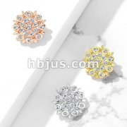 CZ Paved Floral Filigree Internal Thread Dermal Anchor Tops