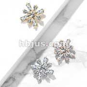 Round CZ Centered Princess Cut CZ Square Internally Threaded Dermal Anchor Tops