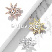 CZ Paved Starburst Internally Threaded Dermal Tops