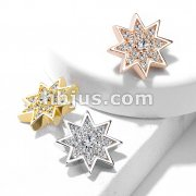 Micro CZ Paved Starburst with Prong set CZ Center Internally Threaded Dermal Top