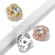 CZ Paved and Round CZ Center Rose Blossom Internally Threaded Dermal Top