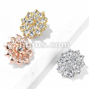 CZ Paved Double Tier Round CZ Flower Internally Threaded Dermal Top