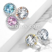 Round Prong Set CZ Center with CZ Around Internal Threaded Dermal Anchor Tops